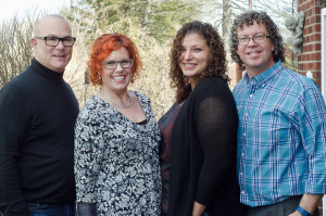 Greg Starkman of Innersense, Kelly E. Anker of Kelly Elaine inc. , Ashley Cannon our model and Scott Musgrave of Curly Hair Artistry
